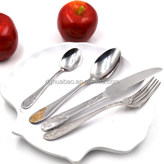 Bulk silver stainless steel cutlery included dinner spoon fork knife dessert spoon and fork