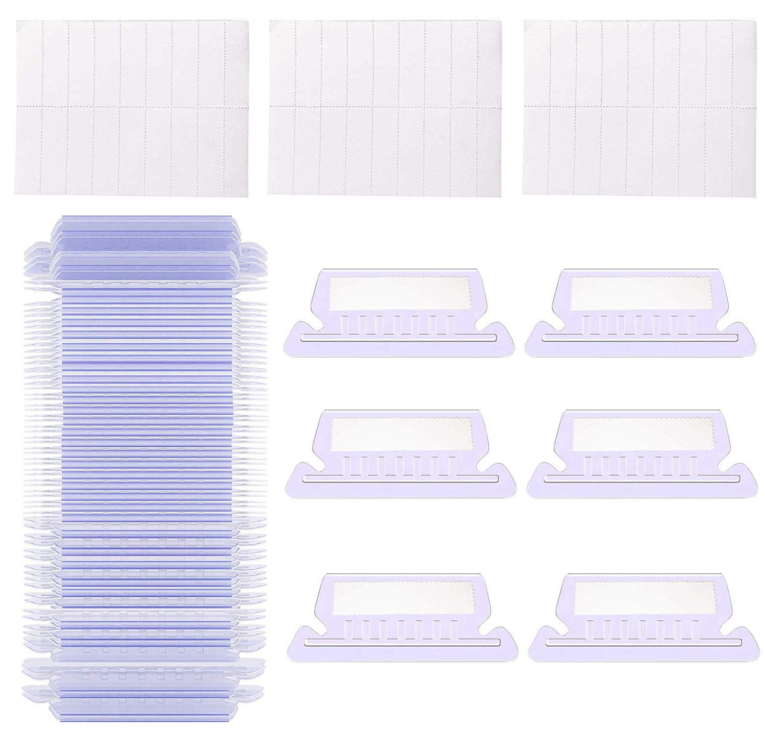 "150 Sets Plastic Hanging Folder Tabs and Inserts, 2"" File Tabs and Hanging File Inserts, Easy to Read and Identify Files"