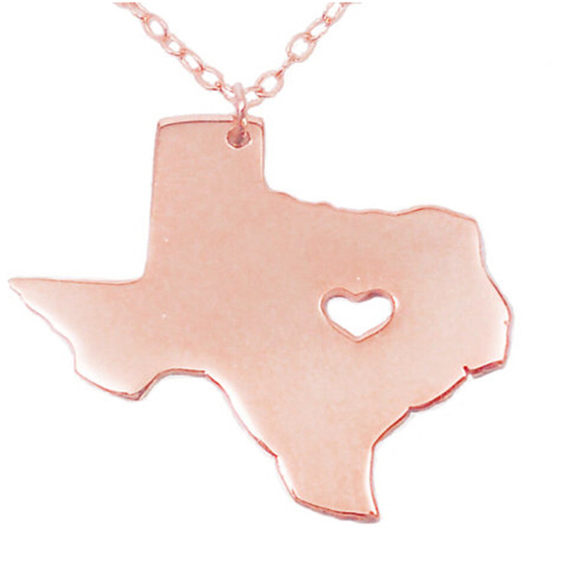 SJUSASN010 Free Shipping Rose Gold Plated Stainless Steel USA Texas State Outline Map with a Heart Cut Out Pendant Necklace