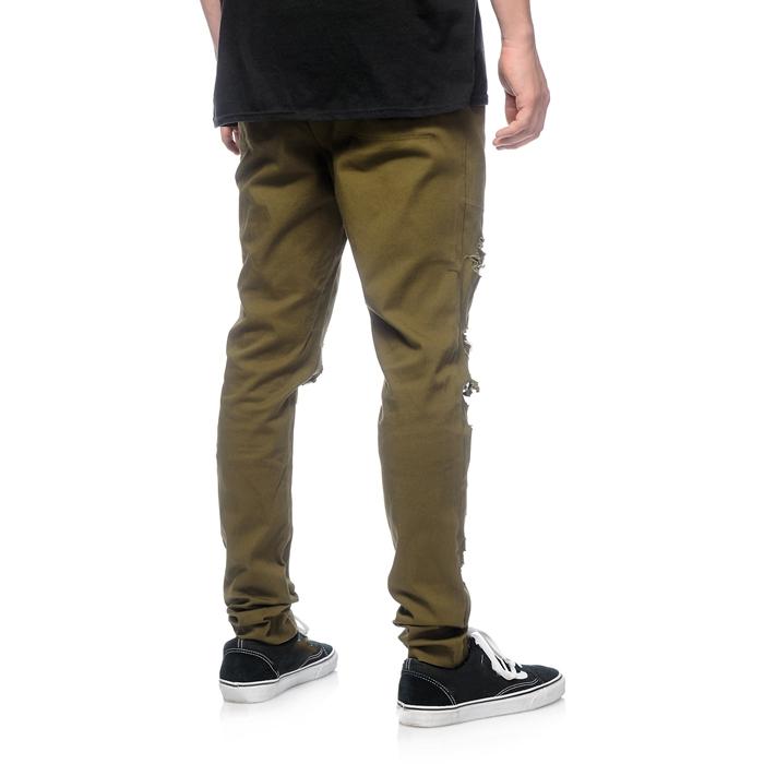 37697b9f8 Distressed Streetwear Mens Twill Pants Olive Green Cotton Blank ...