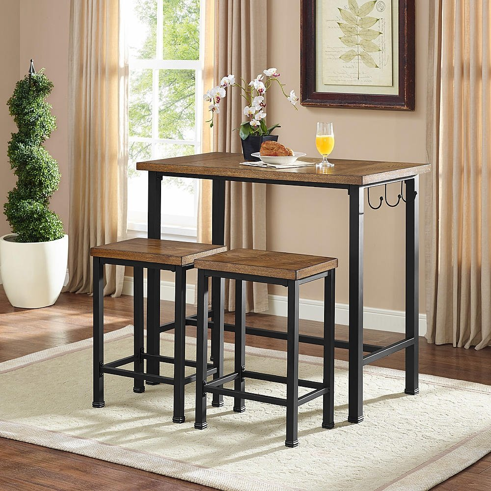 Get Quotations · Pub Table Bar Set 2 Stools Chairs 3 Piece Kitchen  Breakfast Nook Dining Bistro
