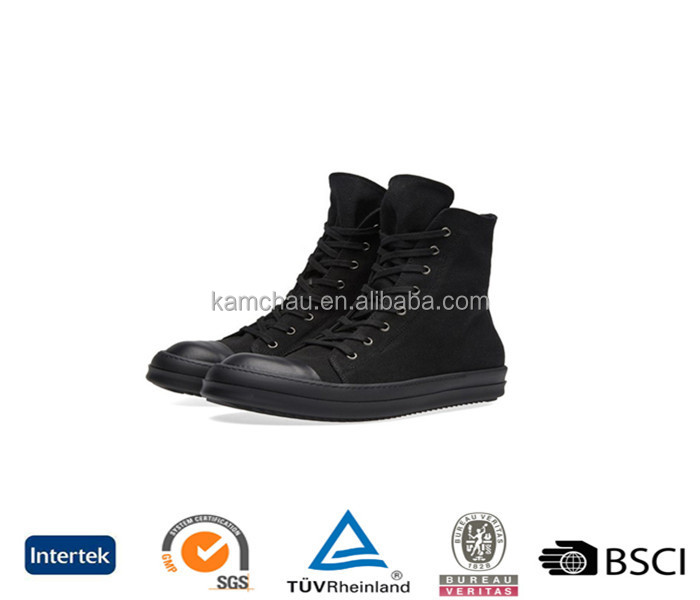 chinese new spring hot sale low price high top rubber toe all black zipper wedge hidden men sneakers
