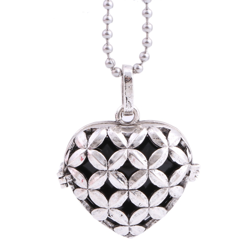 Hollow love Silver Plated Pendant Necklace for women Mexican Bola Sounding Bell fashion Women jewelry Gift