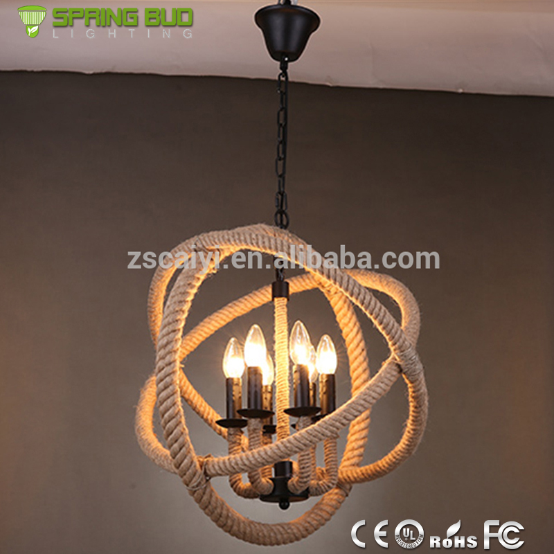 Retro Lighting Pendant Lamp,Ball Hanging Antique Hemo Rope Wrought ...
