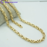 18K Gold Plated Jewelry 6MM Men's Fashion Stainless Steel Jewelry Set