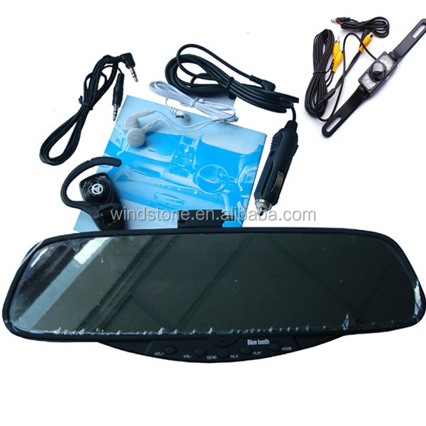 Car Rearview Mirror with 3.5 inch TFT Monitor Wireless Alarm Sensor System