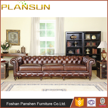 Classic antique style handmade vintage Kensington Chesterfield Three seats Leather Sofa