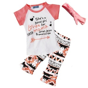 arrow print cloth 3pcs clothing set kids raglan shirts & flare pants girls matching outfit with hairband