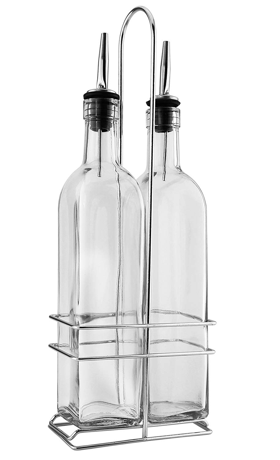 2-pack 17oz Home & Garden Gentle Oil And Vinegar Dispenser Salad Dressing Cruet Glass Bottles