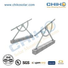 Adjustable solar panel support structures with ground screw