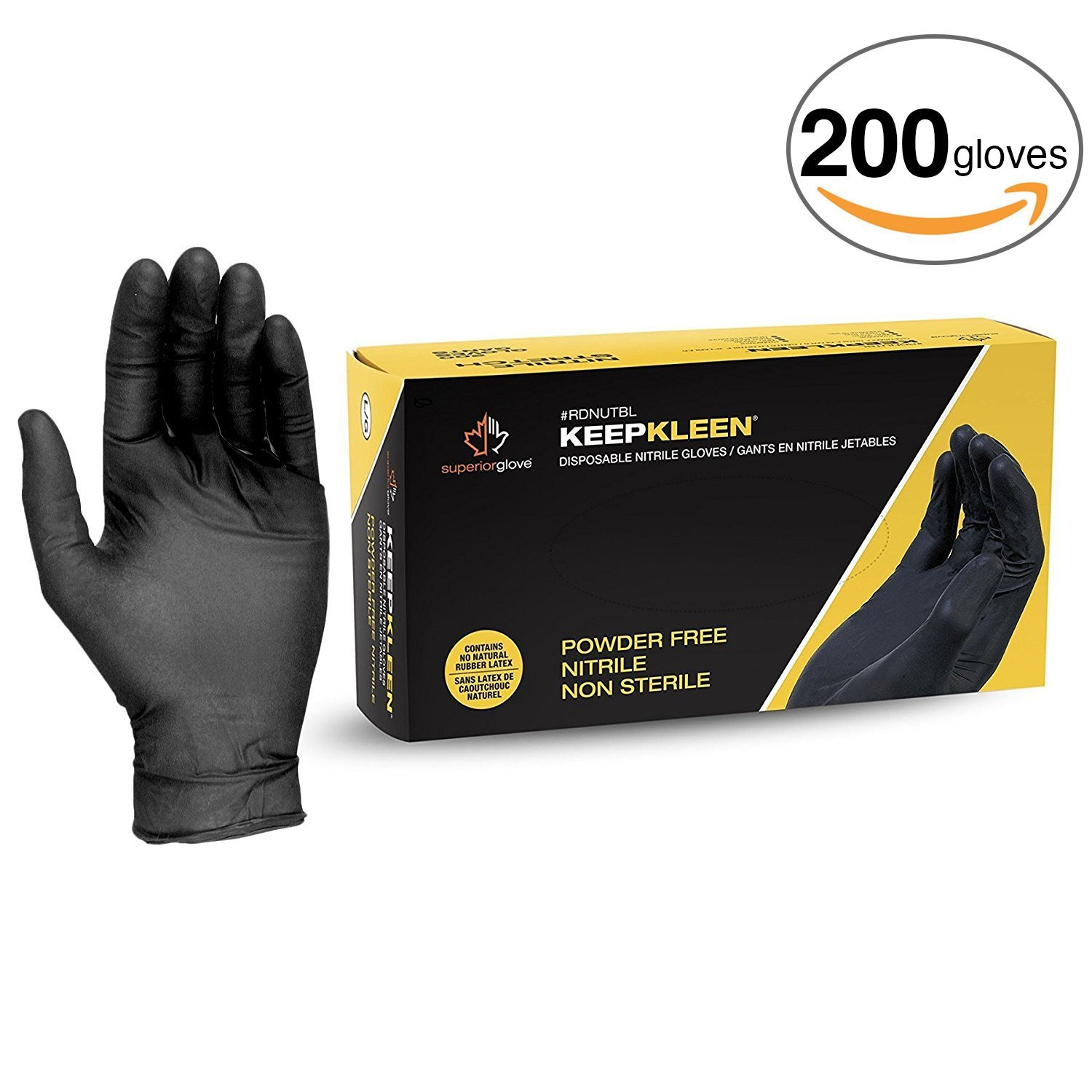 """Superior Black Nitrile Gloves, Latex Free Glove, Disposable Gloves, Powder Free, Ultra Thin 3.5 mil Thickness, 9"""" Length, Size Small (Box of 200)"""