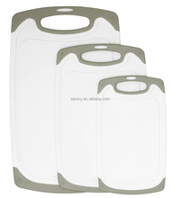 Dishwasher Safe Plastic Cutting Board Set BPA free PP with Juice Groove and Rubber Non-Skid Edges