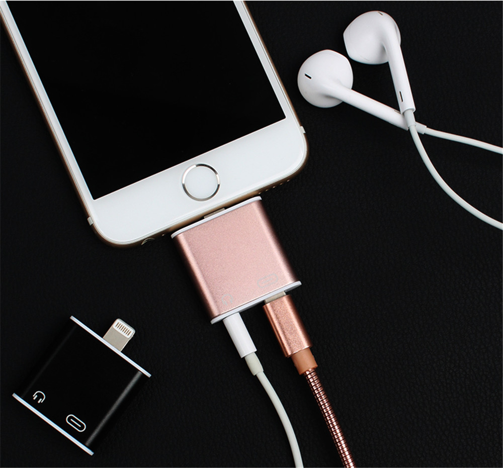 New light-ning audio + charge headphone <strong>adapter</strong> for iphone 7