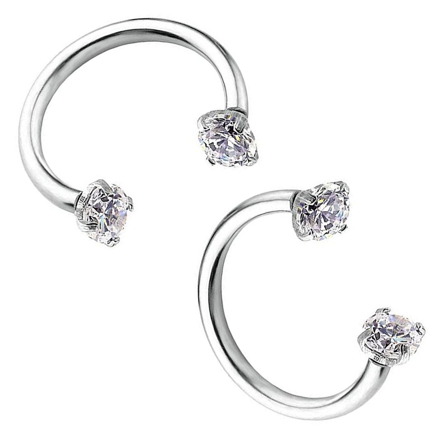 4f891c9e8 Pair of 16g Stainless Steel Round Cubic Zirconia Helix Cartilage Tragus Ear  Lobe Barbell Stud Earrings