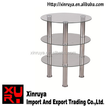 Unique design small narrow 3 layers glass end table buy for Short narrow end tables