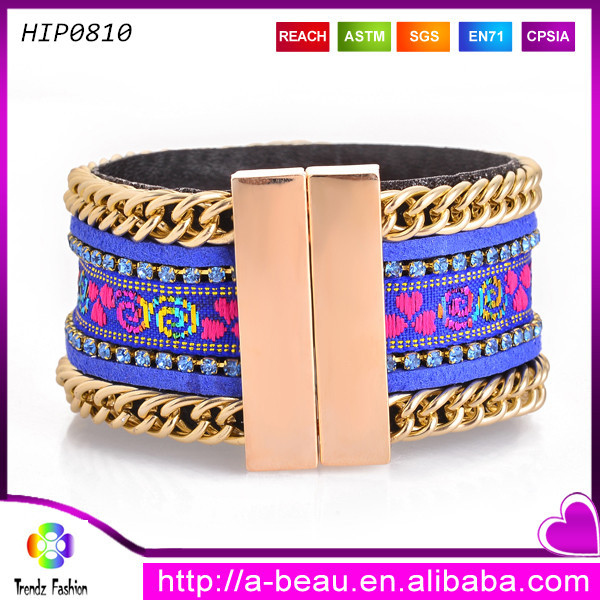 Ribbon pattern magnetic clasps for flat leather bracelet friendship gift