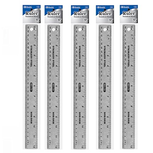 """5 Stainless Steel Quality Non-Skid Cork Back Straight Ruler 12"""" (30cm), Protects Surfaces, Hanging Hole straight edge for drawing straight lines on wood and metal"""