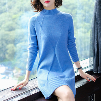 Winter thick high neck hip package cable woman sweater dress