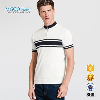 58475d8c9c0 Men chest striped henley polo shirts Stand collar design t shirt wholesale  Half zipper blank custom