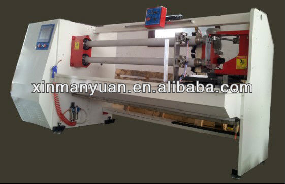 Double shafts double knives auto cutting machine for adhesive tape, film,vinyl,fabric