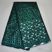Green double organza lace fabric African lace fabrics sequins tulle french net swiss guipure lace