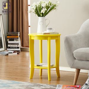 yellow American style concise 4 legs small round table side end table