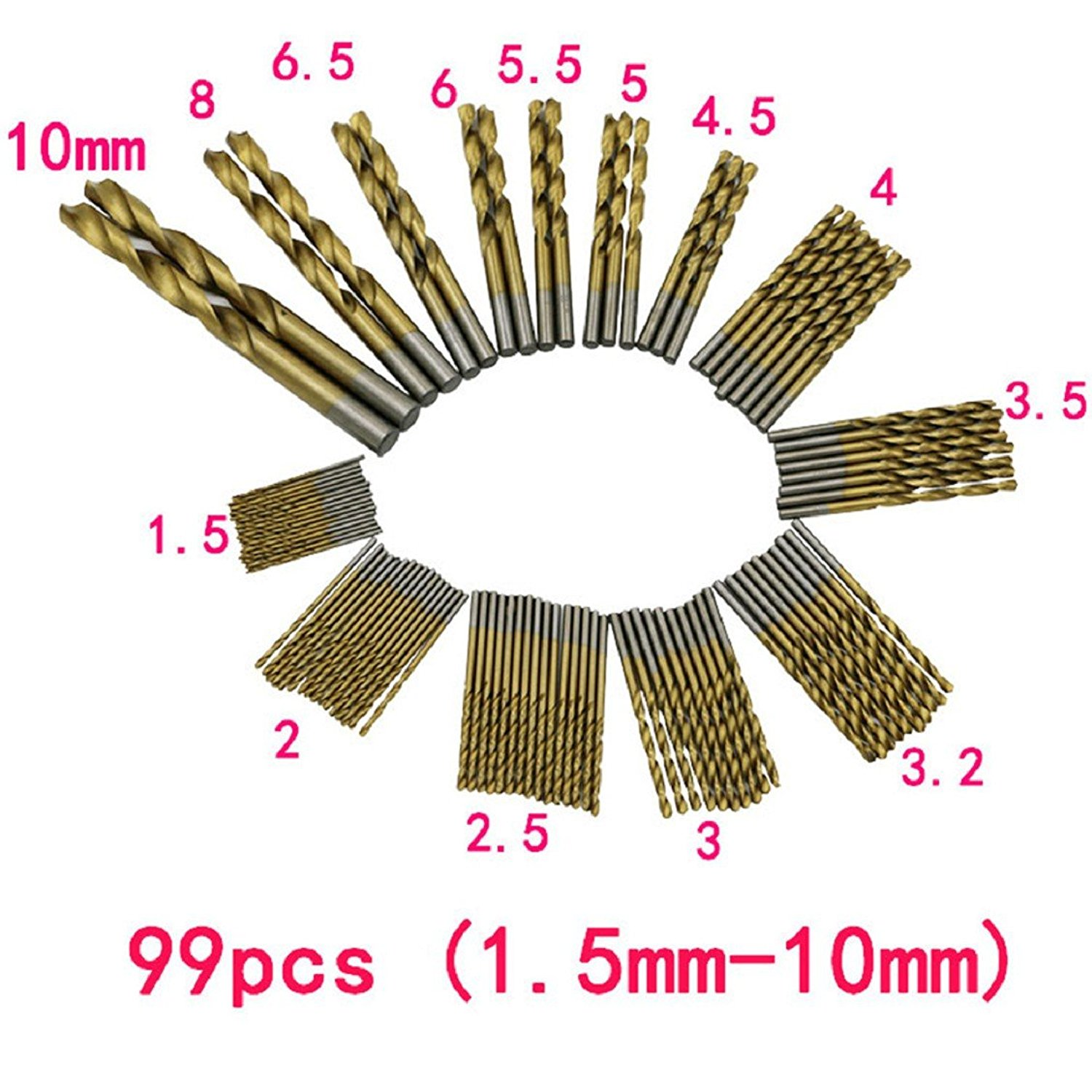 Naladoo 99pcs/Set Twist Drill Bit Set Saw Set HSS High Steel Titanium Coated Drill Woodworkin Tool 1.5-10mm For Cordless Screwdriver