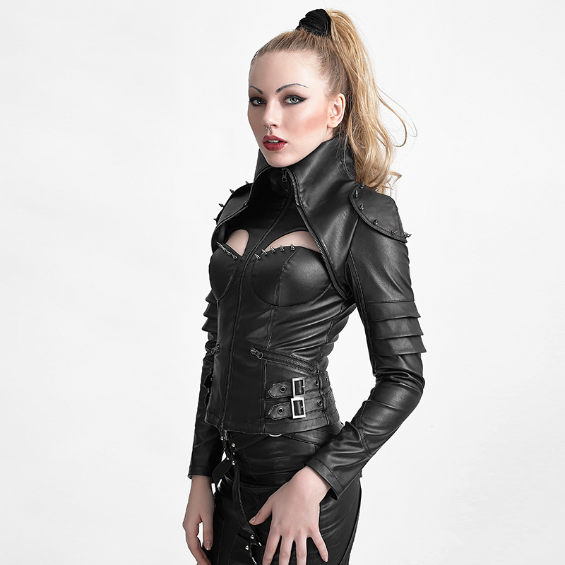 Y 626 Punk Rivet Studded Sexy Woman High Collar Tight