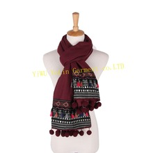 Flowery stylish autumn winter high quality wholesalers custom venonat lace lady long scarf