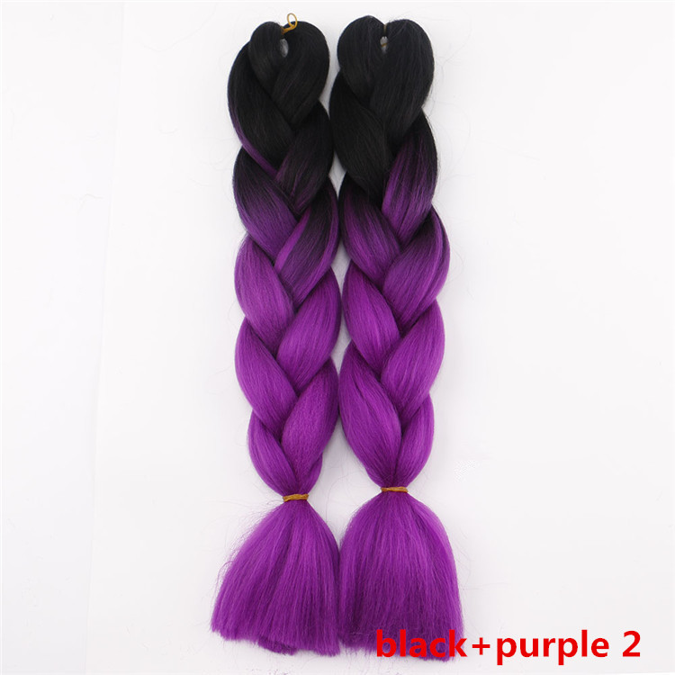 Synthetic Braiding Hair Ombre Black T Purple Colored Jumbo Braids Heat Resistant Yaki Straight