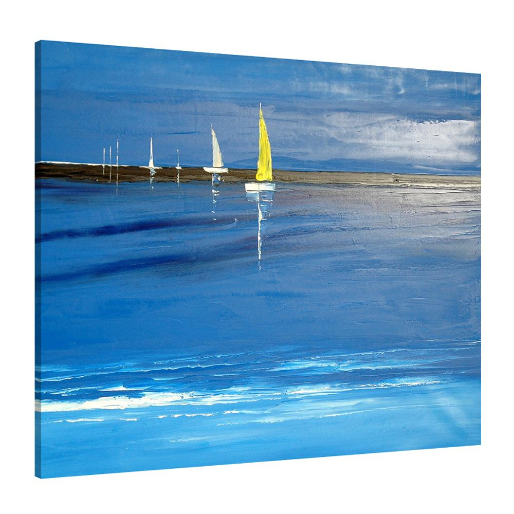 Home Decor Mediterranean Sea Beach Chair Sailing Seascape Canvas Printings Oil Painting Printed On Canvas Home Wall Art Decoration Picture Fine Workmanship