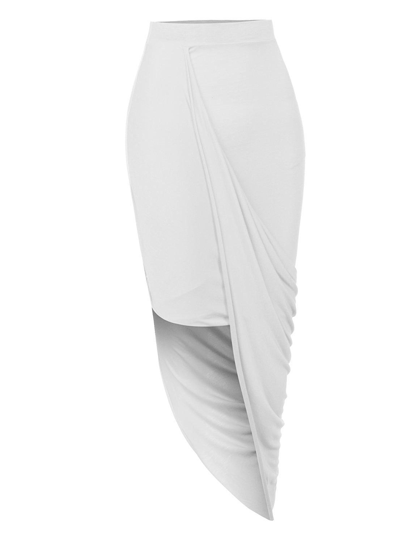 d5df17fe7e Get Quotations · Womens Drape Up Stretchy Asymmetrical Hi Low Mixi Skirt