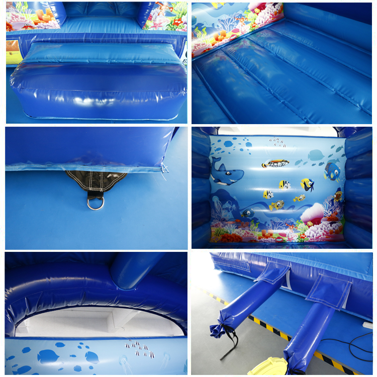 High Quality 3.8 X 3m Sea World Theme Bouncy Castle Inflatable Bounce House air trampoline indoor For Sale