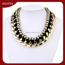 GL201514 Necklaces jewelry Glitta new Pure handmade dubai gold necklace with bling crystal,Fashion Statement Necklace