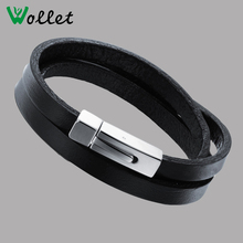 Latest design vogue leather wrap jewellery bangle bracelet charms jewelry