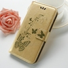 Luxury Gold Butterfly PU Leather Phone Case Flip Cover For iPhone 7 Wallet Case