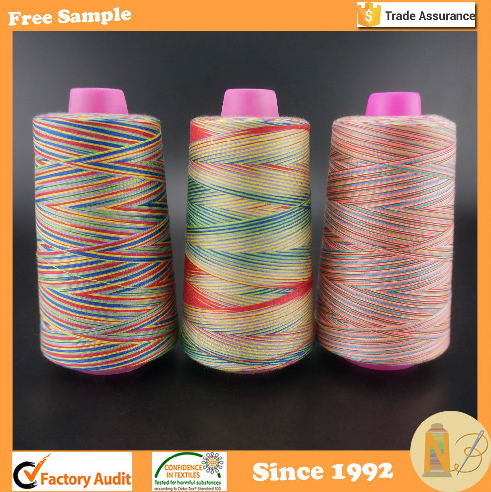 Cheap price 40S/2 (402) Variegated Color Polyester Sewing Thread for embroidery or sewing