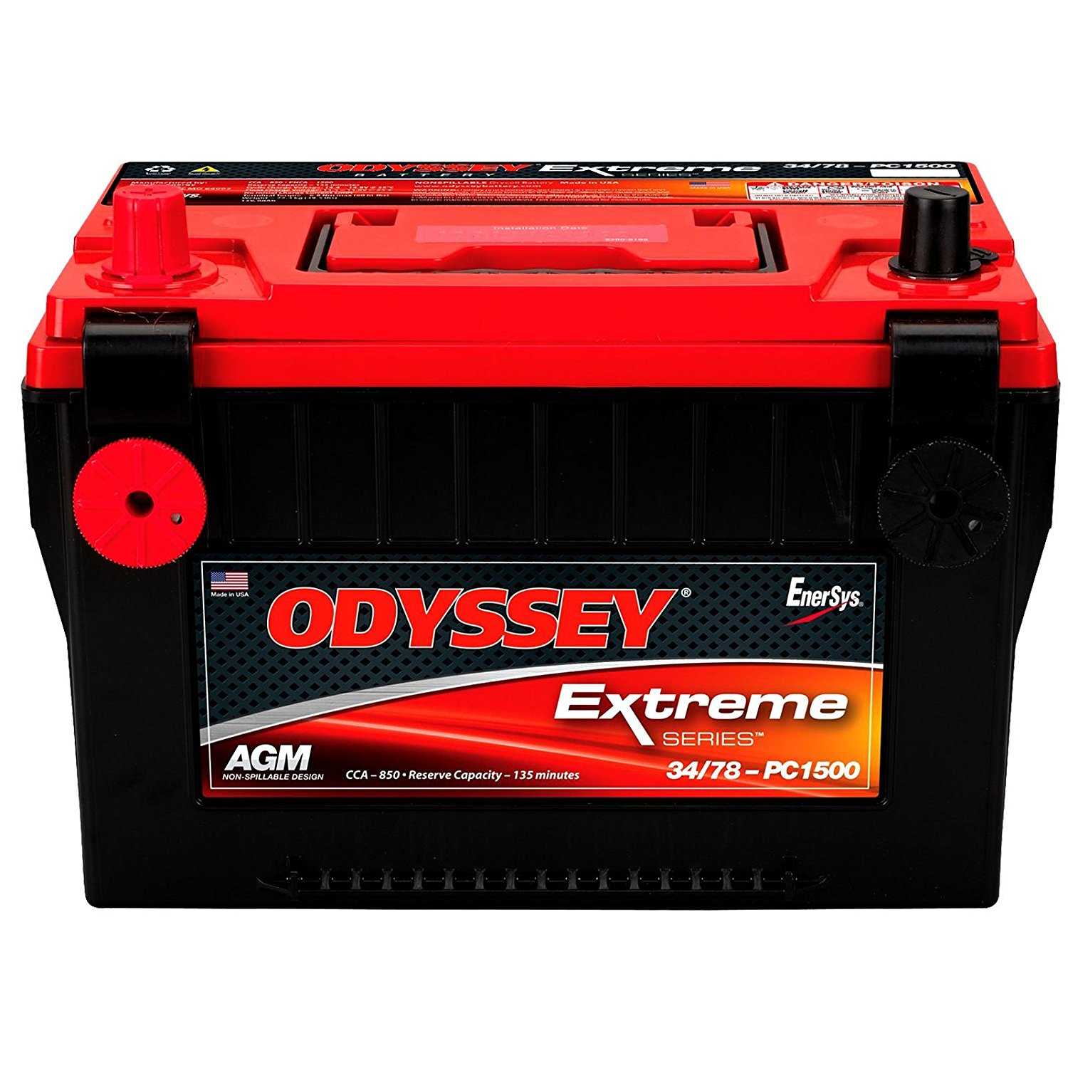 Odyssey Extreme PC1500/DT 850CCA Sealed AGM Automotive Start Battery for Emergency response: Police cruisers, fire trucks, ambulances. 4X4 Off-Road/Off-road vehicles - SUVS, Light trucks. Heavy Duty/Commercial Tractor trailers Earth-moving construction equipment, Farm, and Lawnmower Cars and