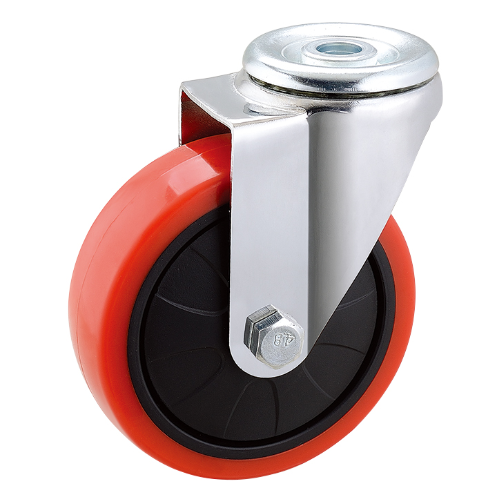 100mm Red PU Bolt Hole Caster Wheel