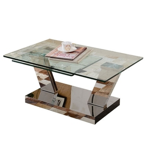 Furniture Barisan Glass Coffe Table with stainless steel base