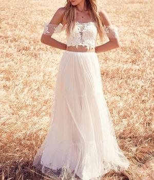 2015 Two pieces beach casual wedding flower girl dresses