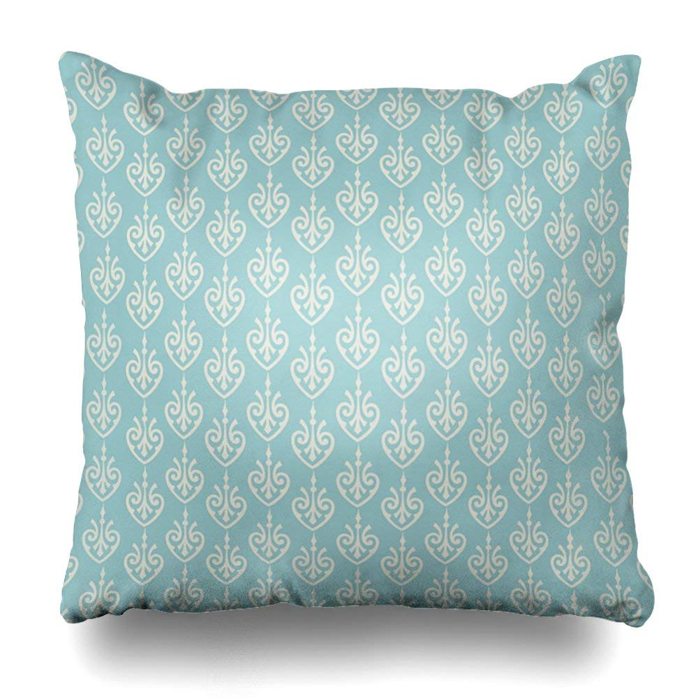 "Soopat Decorative Pillow Cover 18""X18"" Two Sides Printed Turquoise Cream Pattern Decorative Throw Pillow Cases Decorative Home Decor Indoor Nice Gift Kitchen Garden Sofa Bed Car"