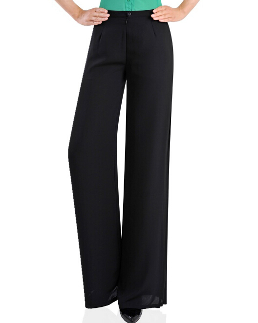 17dcf646ef133 Get Quotations · 2015 new fashion black white casual wide leg pants popular  full length skinny button fly solid