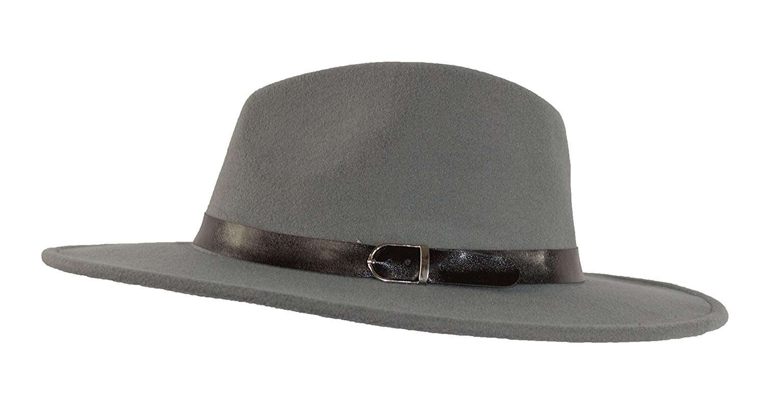 b1d0989306d Get Quotations · MWS Wide Brimmed Gangster Fedora w Buckle Hatband