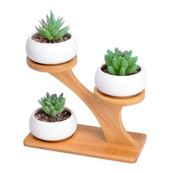 3 Tier Bamboo Saucers Holder Small Plant Pot Stand For Succulent