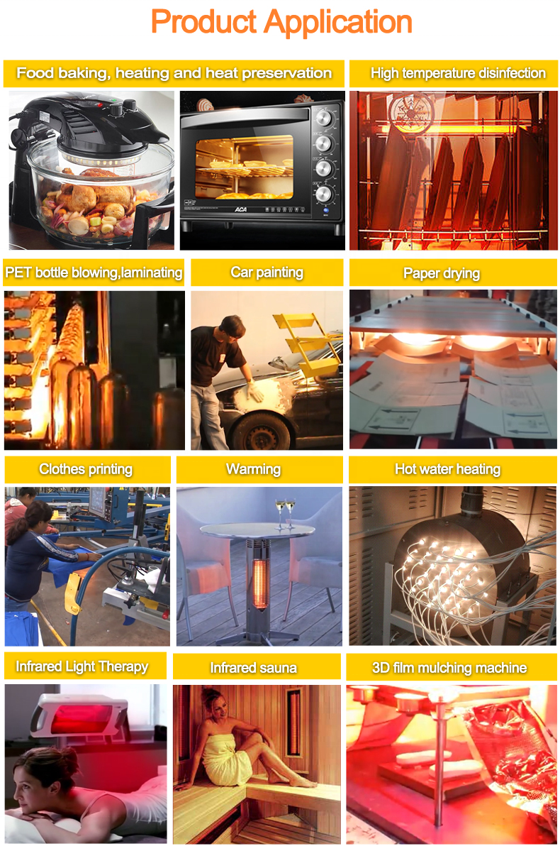 Gold Coated Reflector Infra-red twin tube Halogen Heating Lamps for Industrial oven