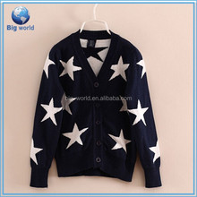 High Quality Newest love heart autumn pattern cardigan sweater computer knitted Girls thick sweater cardigan sweater wholesale
