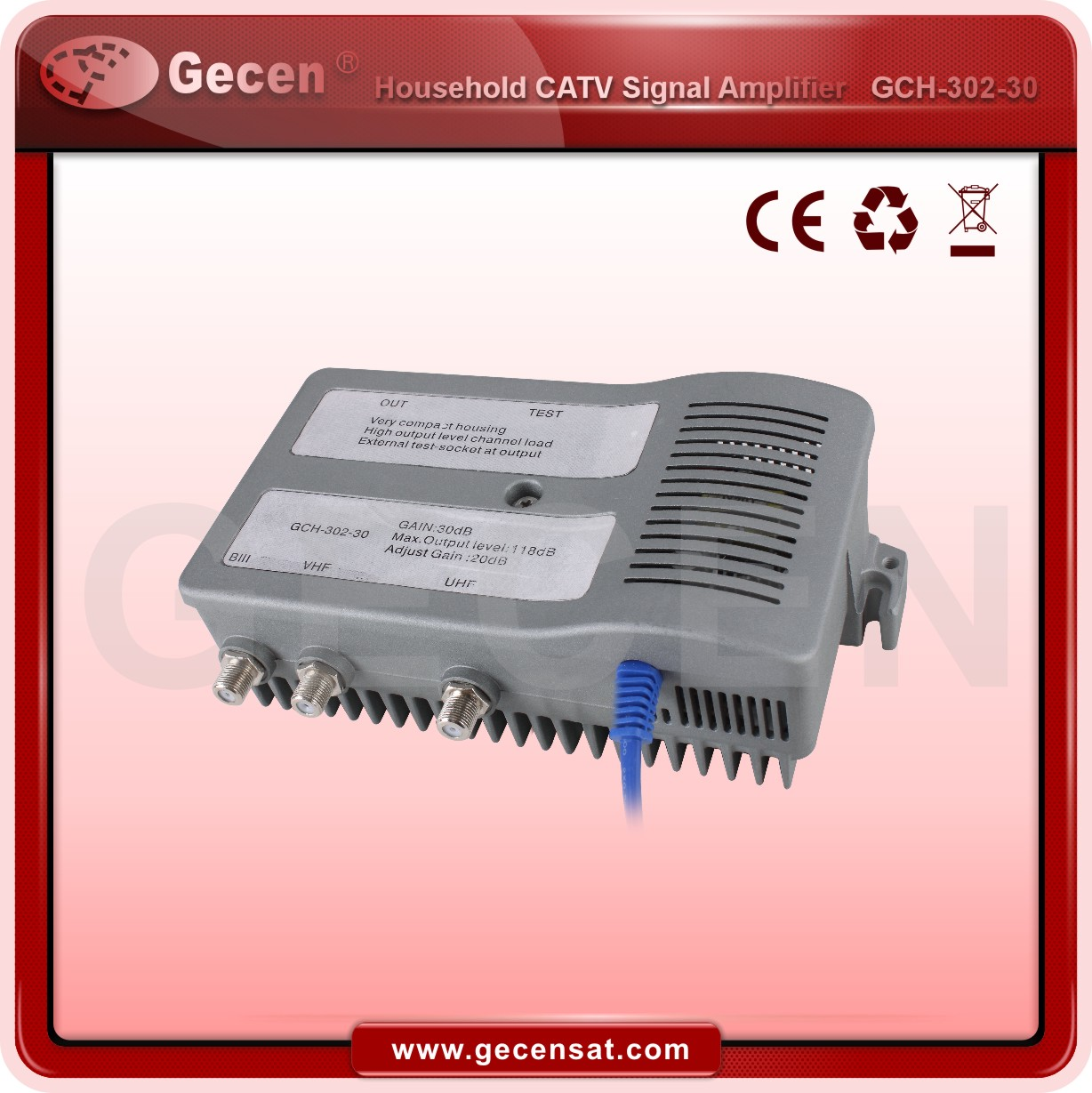 47-860Mhz CATV Amplifier with 30db gain GCH-302-30