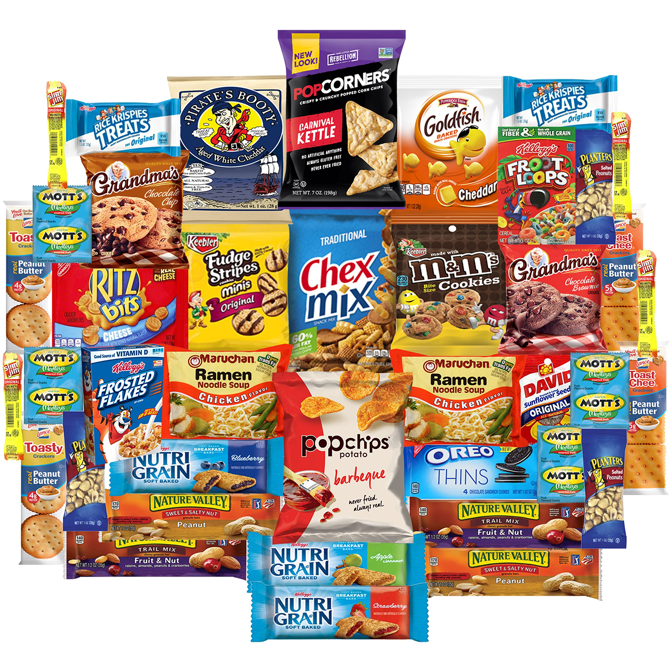 Ultimate Care Package Snacks Cookies Bars Chips Crackers Assortment For College, Army, Hospital, Student (40 Count)