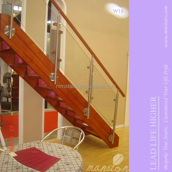 Indoor Wood Stairs Glass Stair Railing Cost